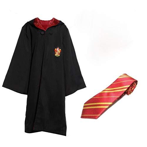 Zauberer Robe mit Wappen und Schlips für Erwachsene Umhang Mantel Herren-Kostüm, Größe:XS -