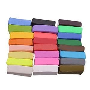 Tinksky 24St Farben Fimo Polymer Clay Blöcke weiche Knetmasse DIY Moulding Handwerk Spielzeug
