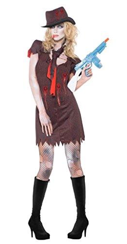 Smiffys Fever Zombie Gangster-Kostüm mit Nadelstreifen-Kleid, Mütze und Schal, Größe M, Schwarz (Halloween Gangster Make-up)