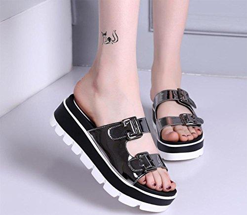 Word-Sommer Sandalen und Pantoffel weiblicher Hang mit schwerer Boden Sandalen unten weibliche Oberbekleidung Sandalen und Pantoffeln Muffin gun color