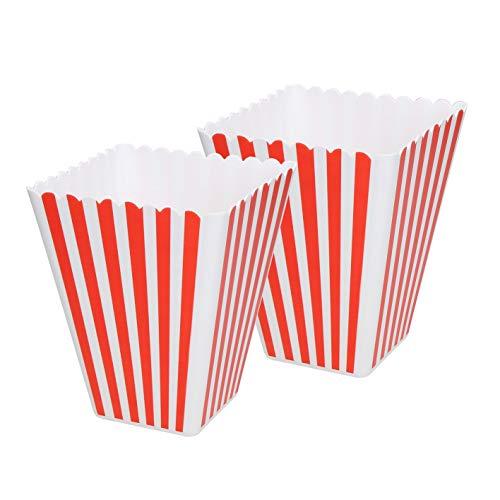 elasto Robuste Popcornschale -Hollywood - Popcorn Tüten BPA-FREI | Wiederverwendbare Popcorntüte Retro aus Dickem Kunststoff | Snack Eimer Ideal für Softeis Speißeeis Gestreift Rot-Weiß (2)