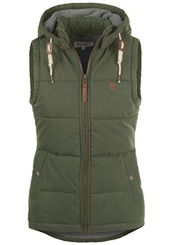 Baumwoll-nylon-weste (DESIRES Lew Damen Weste Steppweste Übergangsweste mit Kapuze aus hochwertiger Baumwollmischung, Größe:XL, Farbe:Ivy Green (3797))