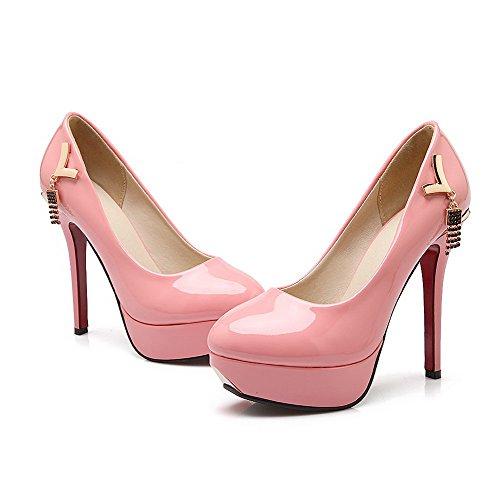 VogueZone009 Damen Ziehen Auf Pu Leder Rund Zehe Hoher Absatz Eingelegt Pumps Schuhe Pink