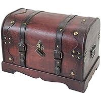 HMF 6403-140 Coffre au trésor avec cadenas et boîte à trésors pirates 40 x 23 x 27 cm