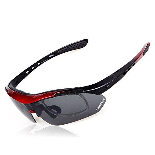 Bendwy Luya Angeln Outdoor Sports Sonne Polarisierte Austauschbare Outdoor Reitbrille Set Sportbrille 5 Gruppe Linsen Anti-UV-Sonnenbrille (Color : C) (Im Fluss Angeln Karte)