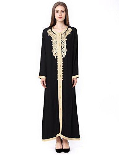 Musulmán islámica abaya / jalabiya kaftan caftán dubai maxi vestido largo para las mujeres ropa vestido de rayón 1629