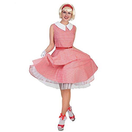 (Funny Fashion 50er Jahre Kostüm Kleid Rot/weiß Kariert Fasching Rockabilly (36/38))