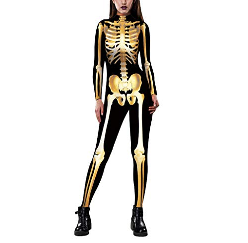 SERAPH Damen Halloween Unheimlich Gespenstisch Bodycon Party Cosplay Kostüm Overalls,Goldskeleton,XL