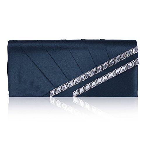Damara Femme Beau Design Sac De Soirée En Satin Et Strass Bleu Marine