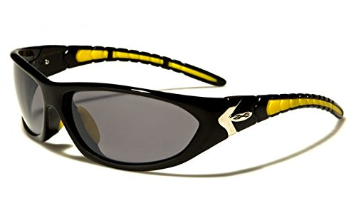 New XLoop SOLO Unisex Sport Wrap Sunglasses UV400 100% Protection (gloss black & yellow frame grey lens)