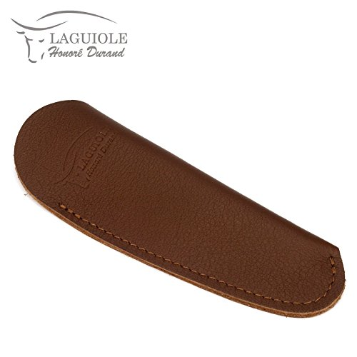 Dunkelbraune, Geprägte Leder (Laguiole Honoré Durand PS12M dunkelbraunes Etui aus Leder für EIN Taschenmesser 11/12 cm)