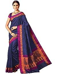 AASRI Navy Blue Party Wear Zari Border Handloom Raw Silk Saree With Silk Blouse Fabric
