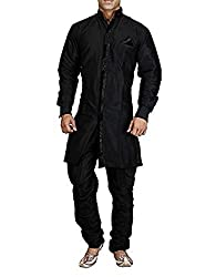 Royal Mens Silk Blend Sherwani (ROYAL_171_Black _X-Large)