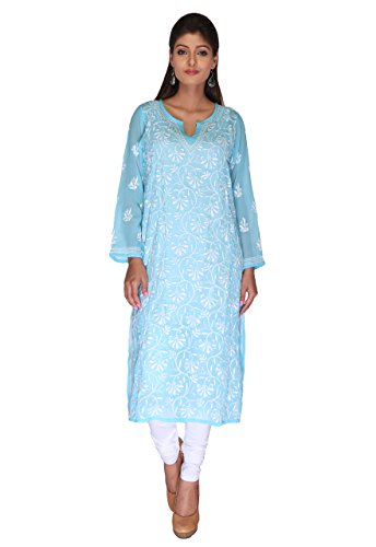 Lucknow Chikan Needlecraft Regular Wear Faux Georgette Kurti from ADA A90358
