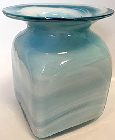 Vase square turquoise white marbled Glass small Table Vase Height approx 10 cm