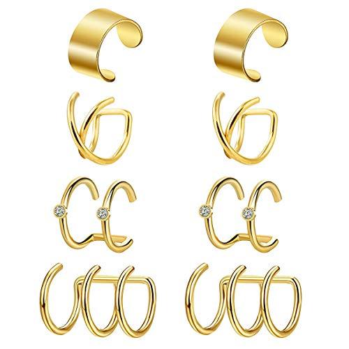 VFUN 4 PAires Piercing Ear Helix Tragus Woman Man Ear Non-Piercing Fake Piercing Nose Ring Cartilage Piercing - Gold