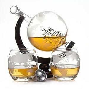 casa-vetro Whisky Karaffe 900 ml Mundgeblasen GLOBUS und 2 Gläser Set je 350ml Glas-Karaffe Welt Dekanter Flasche 0,9 Liter l Glasflasche Likör Schnaps Wein Karaffe Dekantierer (Globus Holz Set)