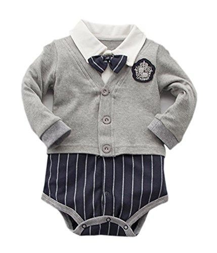 Blancho Bedding Feder Herbst Baby Kids Siamese Dreieck Tlags Romper Grau Streifen