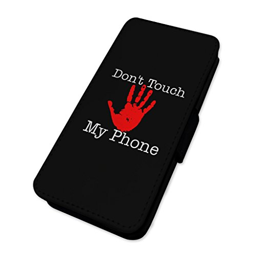 Dont touch My Phone–rosso avvertimento mano–Flip cover in pelle cover Apple Iphone 5/5s/SE