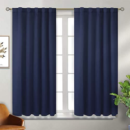 Tende oscuranti termiche isolanti per finestre camera da letto casa interni,2 panelli(117x137 cm(l×a),blu marino)