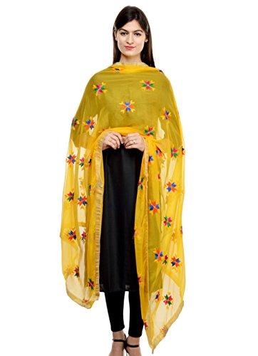 Weavers Villa Womens Faux Chiffon Dupattas (Dp--Buty-Yellow _Buty-Yellow _Large)
