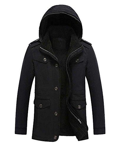Herren Mit Kapuze Wintermantel Mantel Warme Winterjacke Coat Trenchcoat Schwarz