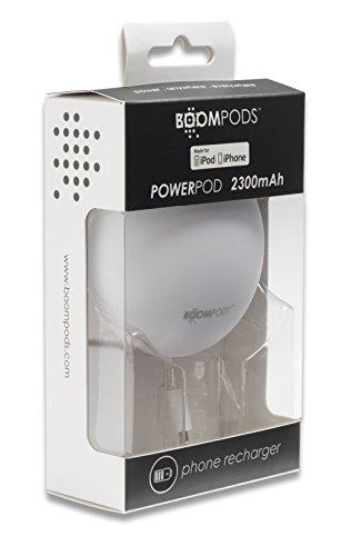 Boompods Powerpod Batteria Esterna Power Bank Caricabatterie Portatile, Compatto da 2300mAh, con Cavo Lightning 8-pin (Powerpod Batteria Portatile)