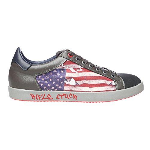 RIFLE Sneakers da uomo, scarpa bassa stringata - Mod. 162-M-363-457 Nero - Grigio Scuro -Blu