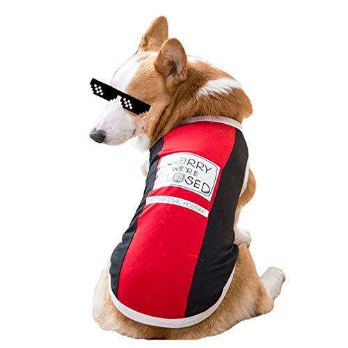 GHHZZQ Hundekleidung Corgi Hund Sommer Dünnschnitt Weste Vier Füße Kurzes Bein Law Pet Kleiner Hund Blau Rosa Rot Gelb (Farbe : Rot, größe : M)