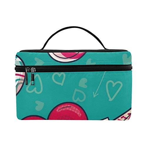 Colorful Love Heart Shaped Lollipop Candy Pattern Lunchbox Tote Bag Lunch Holder Insulated Lunch Cooler Bag für Damen/Herren/Picknick/Bootfahren/Strand/Angeln/Schule/Arbeit
