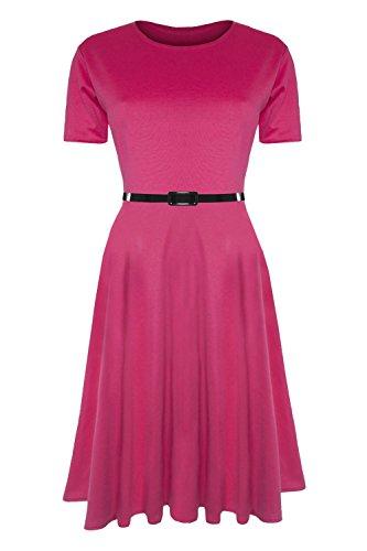 Damen-Skaterkleid mit Gürtel, Einfarbig, Flügelärmel, Mittellanges Swing-Kleid