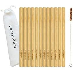 Continūūm | Lot de 12 pailles en Bambou réutilisables 20 cm | Pailles écologiques et biodégradables | Fait Main | Sac de Rangement/Voyage et Brosse de Nettoyage en Fibre de Coco Inclus