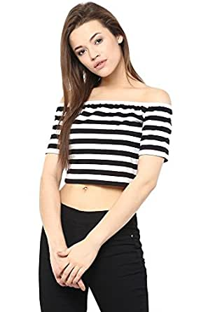 Miss Chase Women's Bardot Top (MCSS16TP06-59_Black and White_X-Small)