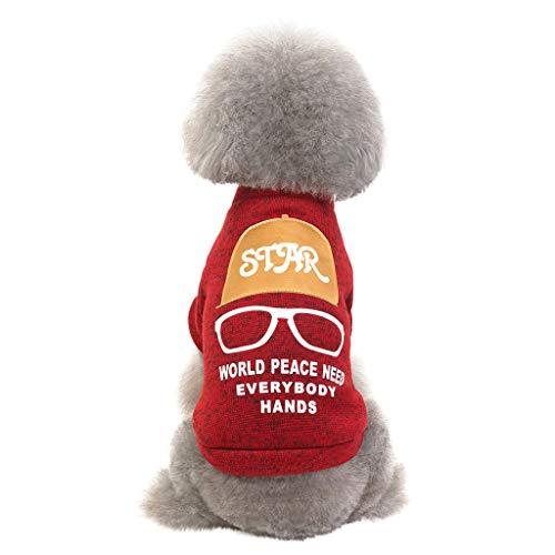 SUGEER Hundepullover Hundemantel Sweatshirt Pullover Brief Brille Drucken Hundekleidung Herbst Winter Neu Modisch Warm T-Shirt Haustier Kleine Hunde Hundepulli Hund T-Shirt Weste Haustierkleidung -