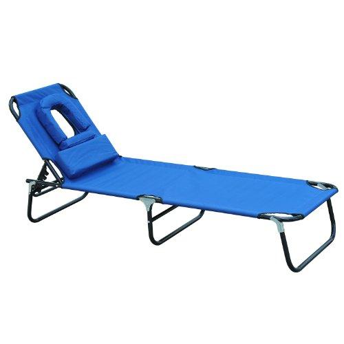 Preisvergleich Produktbild Tumbona Reclinable y Plegable con Almohada para Leer o hacer Masajes - Color Azul - Acero - 190x56x28 cm