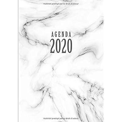 Agenda: Semainier - Petit Format A5 - Marbre Blanc Noir - Calendrier Janvier à Décembre