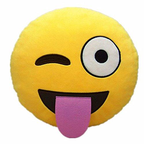 FEIYI 32cm Emoji Emoticono Cojín Amarillo Almohada Redonda Emoticon Bordado Sonriente Suave / Bebé / Niño / Amigos (Tongue)