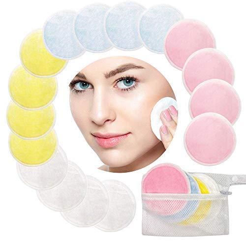 Amaza 16 Pieza Discos Desmaquillantes con Bolsa de Lavandería, Almohadillas Reutilizables para Quitar Maquillaje, Almohadillas lavables de algodón de bambú (4 Colores)