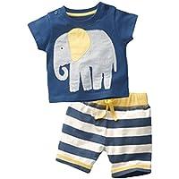 Towear Baby Little Boys '2PC elefante cotone estivo t-shirt shorts set outfit