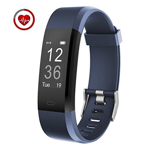Pulsera inteligente Monitoreo de frecuencia cardíaca en tiempo real Vigorun YG3 Plus Fitness Tracker Obturador remoto Modo multideporte Contador de calorías Podómetro Monitorización del sueño Compatible con Android y iOS(Azul)