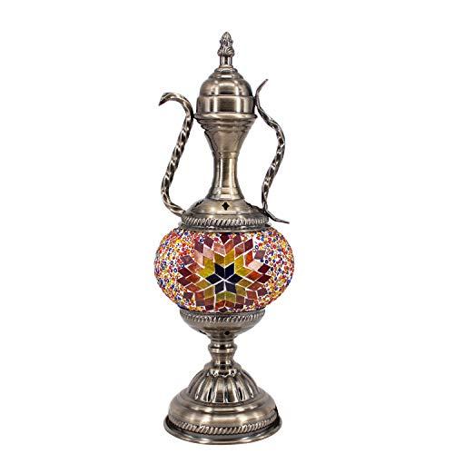 Kindgoo Lámpara Turca Mesilla de Noche Lampara Oriental Marroquí Mesa Vintage Mosaico de Vidrio Multicolor Led Bombilla Incluida Bronze Base (Marrón)