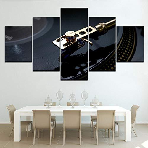Xzfddn Vinylaufzeichnungen Vintage 5 Stück Wand Kunstwerk Tapeten Moderne Modulare Poster Kunst Leinwand Malerei Für Wohnzimmer Wohnkultur-30X40/60/80Cm,With Frame
