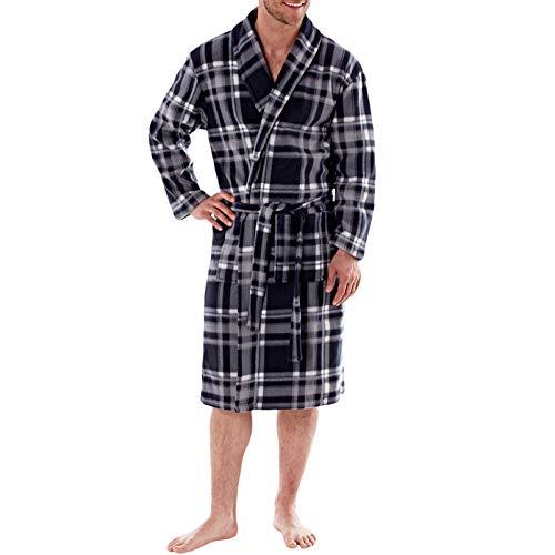 Harvey James masculin vérifié Shawl Collar Robe 200gsm Grey Check-S/M