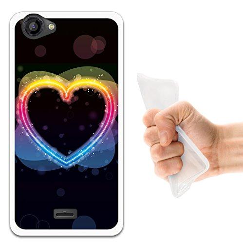 WoowCase Wiko Rainbow Jam Hülle, Handyhülle Silikon für [ Wiko Rainbow Jam ] Mehrfarbiges Regenbogen Herz Handytasche Handy Cover Case Schutzhülle Flexible TPU - Transparent