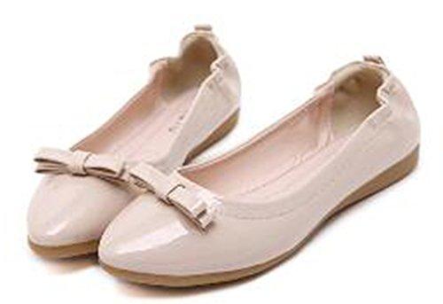Aisun Damen Schleife Spitz Flats Geschlossen Ballerinas Beige