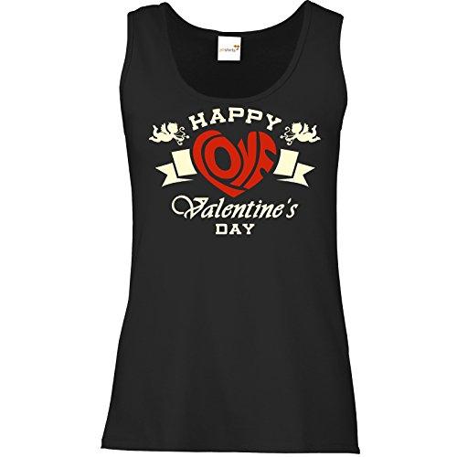 getshirts - RAHMENLOS® Geschenke - Tank Top Damen - Valentinstag Valentine Happy Love 2 Schwarz