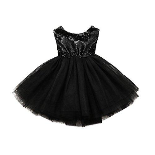 Outfits Sets Kind Janly 0-4 Jahre altes Mädchen Herz Pailletten Kleid Party Prinzessin Tutu Tüll Kleider (2-3 Jahre altes, Schwarz)
