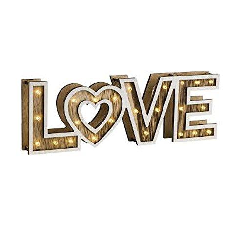 """Letrero de madera iluminado con luces led """"LOVE"""" que funciona a pilas"""