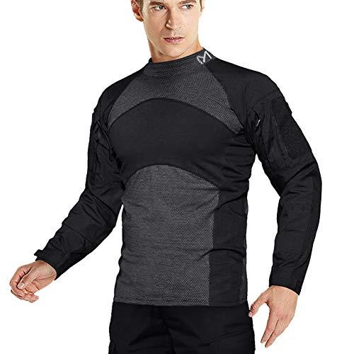MEETYOO Combat Shirt Herren, Tactical Shirts Langarm Airsoft Top Atmungsaktiv Military T-Shirt für Jagd Ausbildung Outdoor