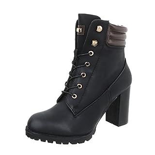 Schnürstiefeletten Damen-Schuhe Schnürstiefeletten Pump High Heels Reißverschluss Ital-Design Stiefeletten Schwarz, Gr 36, S89-